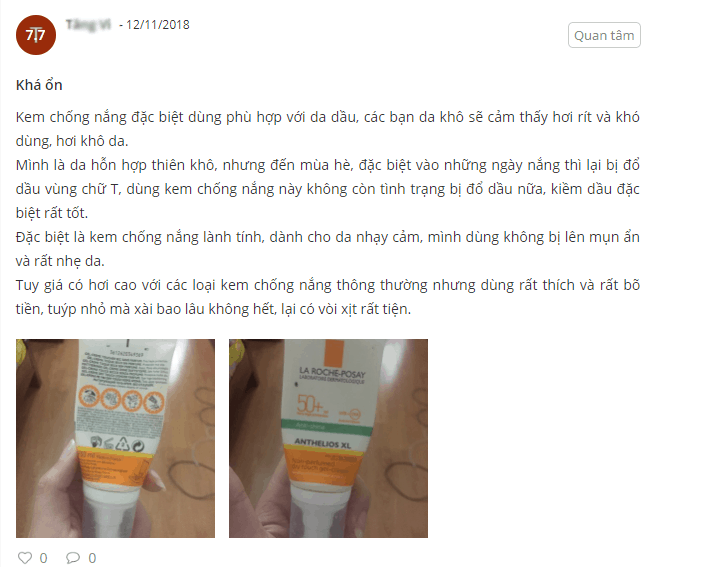 review kem chống nắng la roche posay she is